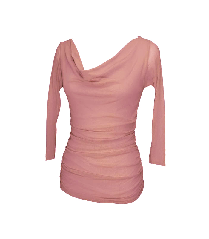 Ruched Top With 3/4 Sleeve- Petit Pois