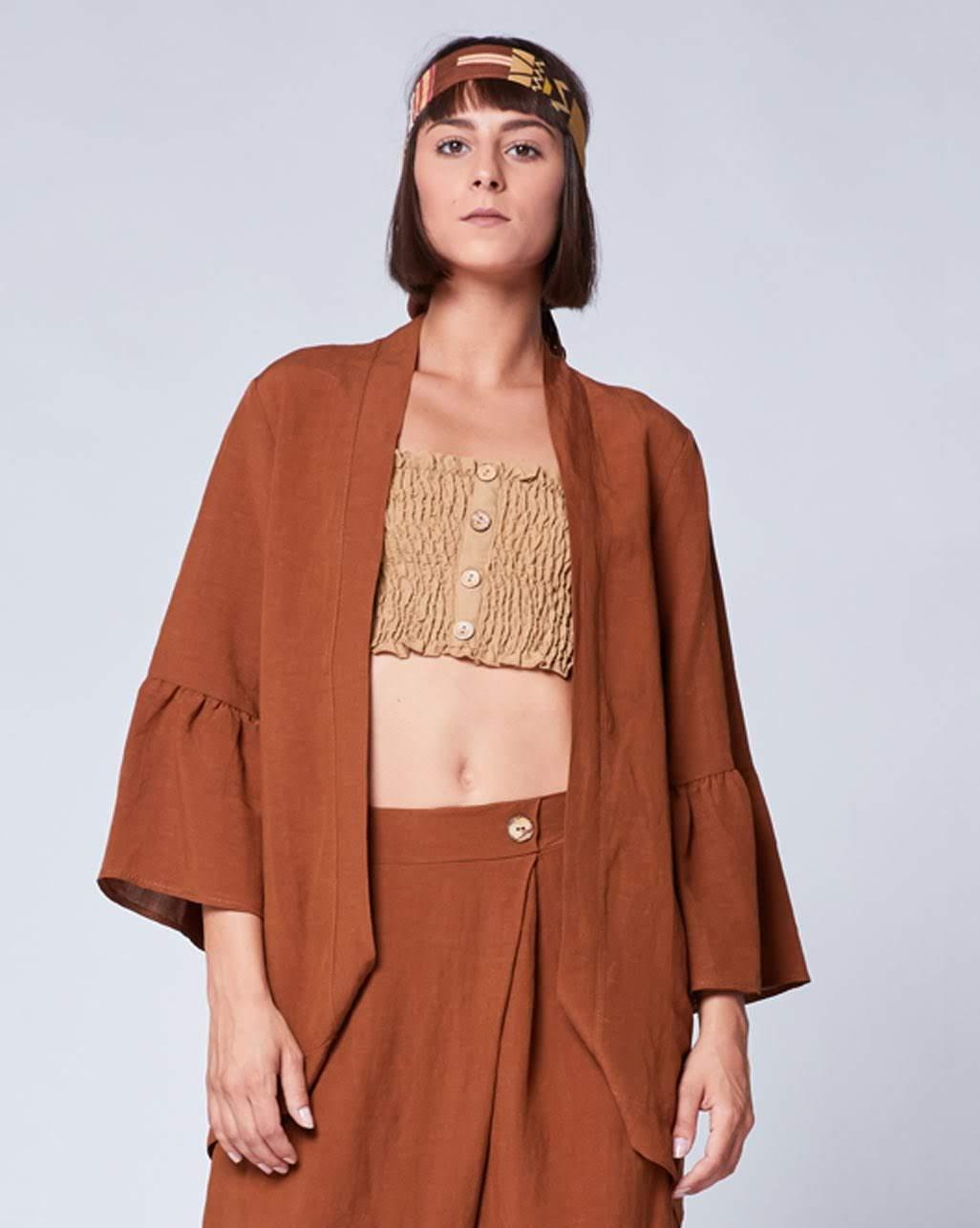 Linen Peplum Sleeve Cardigan – Baci