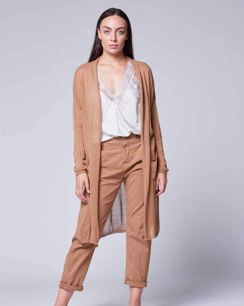 Sheer Gradient Camel Cardigan- Baci