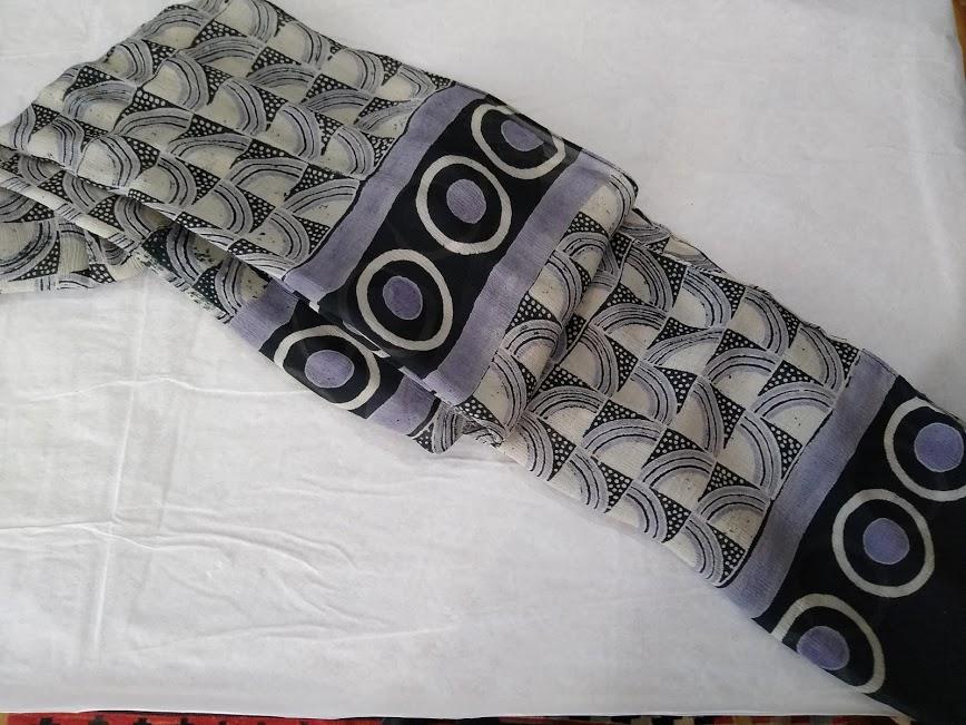 Chiffon Silk Hand Block Printed Scarf – Silver Squares – Harshita