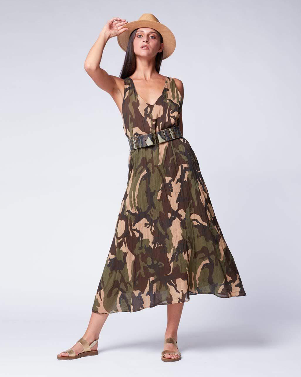 Camouflage V-neck Tank Dress- Amici
