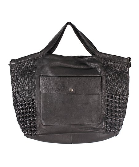 Black Supple Leather Tote With Adjustable Long Strap
