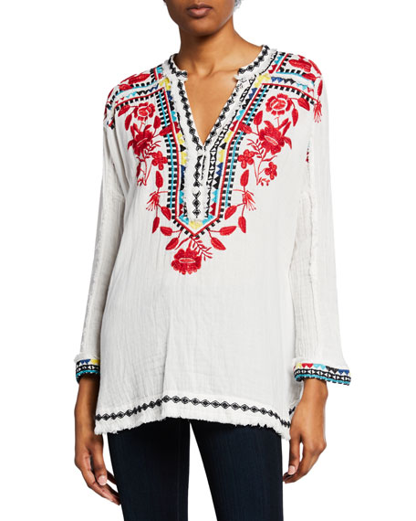 Embroidered Gauze Cotton Blouse – Johnny Was