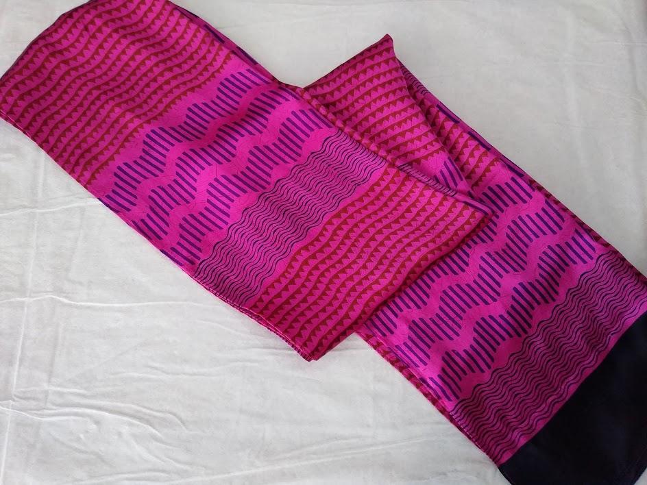 Charmeuse Silk Hand Block Printed Scarf – Morning Glory Pink