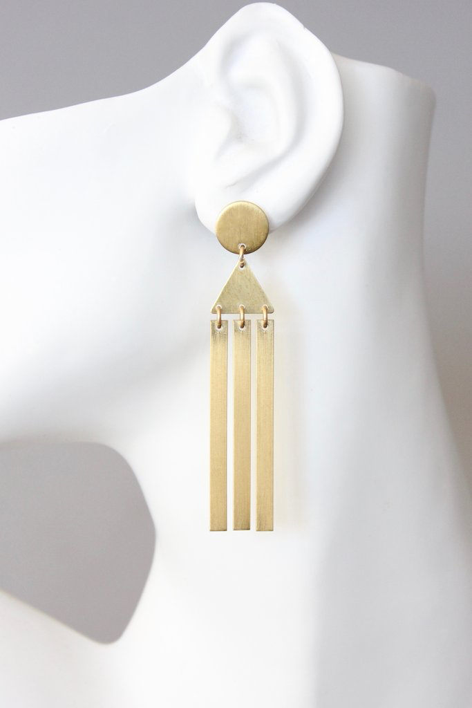 Satin Brass Long Earring – David Aubrey
