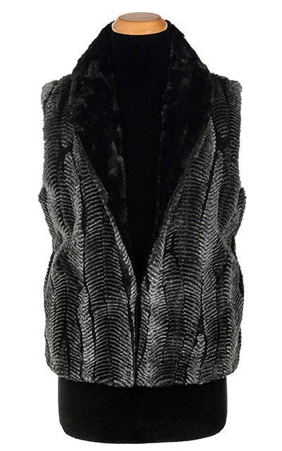 Reversible Luxury Faux Fur Vest In Nightshade And Black