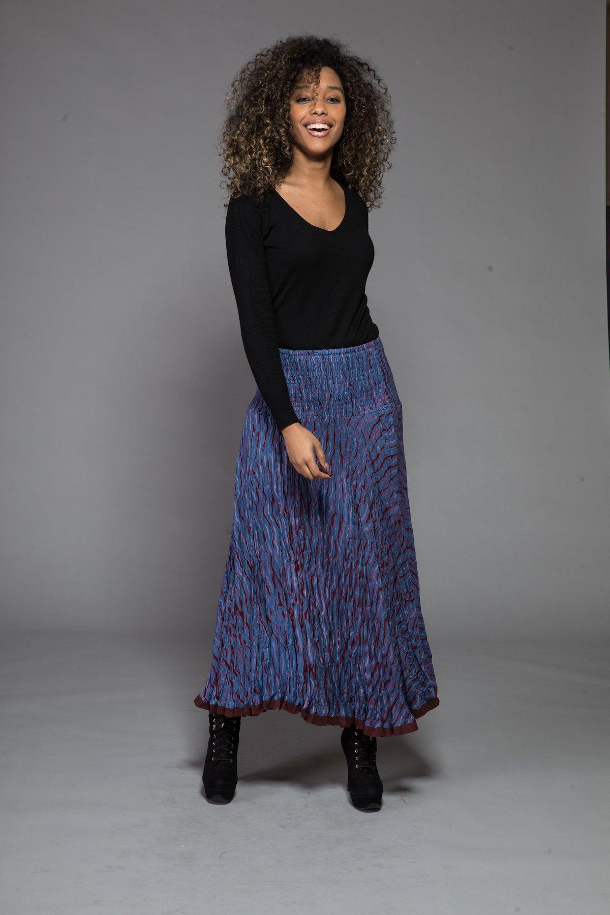 Shibori Dyed Skirt Made Of Sustainable Moss Crepe – Nila Rubia