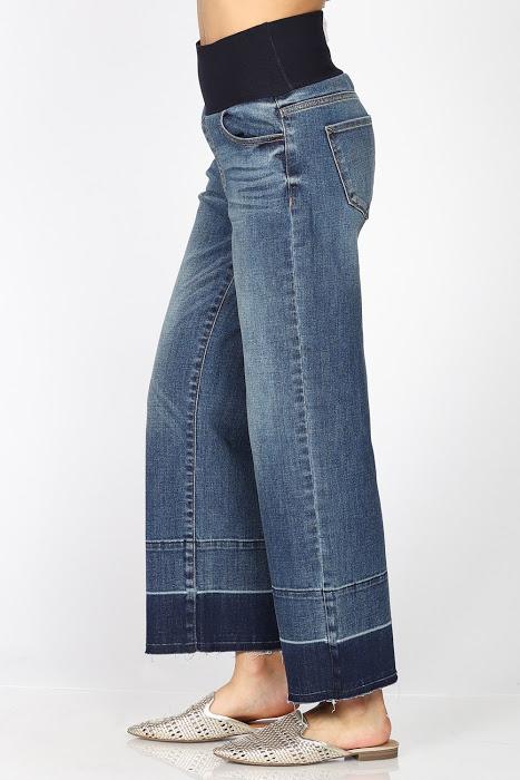 Wide-leg Denim Pant With Elastic Waist