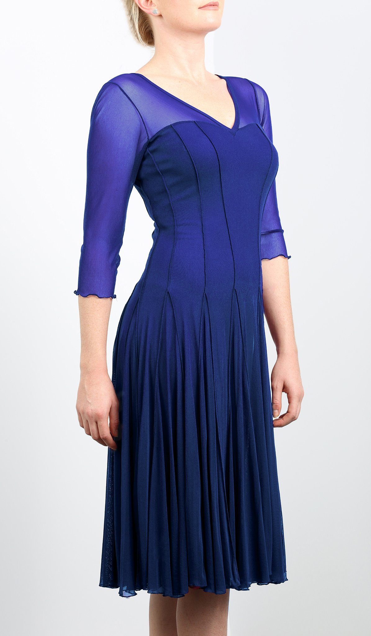 Mesh Panel Dress With 3/4 Sleeves