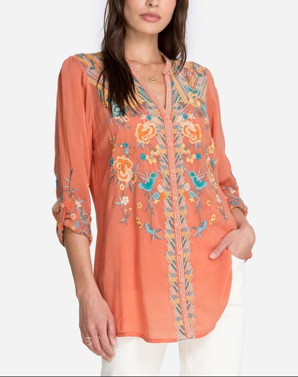 Jazzie Embroidered Blouse – Johnny Was