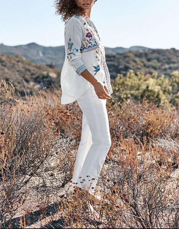 Paneled Oversize Linen Shirt With Embroidery – Johnny Was